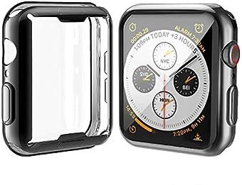 Misxi 【2枚セット】 対応Apple Watch Series 6 SE/Series 5 / Series 4 44mm ケース, 対応アップルウォッチシリーズ 6/SE/5/4 44mm TPU 保護カバー (1 ブラック + 1 クリア)