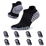 YouShow 8 Pares Calcetines de Hombre Mujer Deportivos Algodon Transpirable Cortos(8x Negro,47-50)
