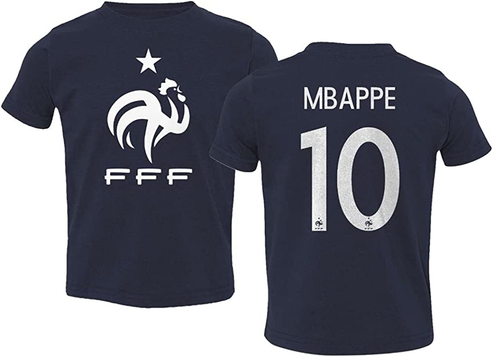 Spark Apparel European Soccer 2020 France #10 Kylian MBAPPE Jersey Style Toddler T-Shirt