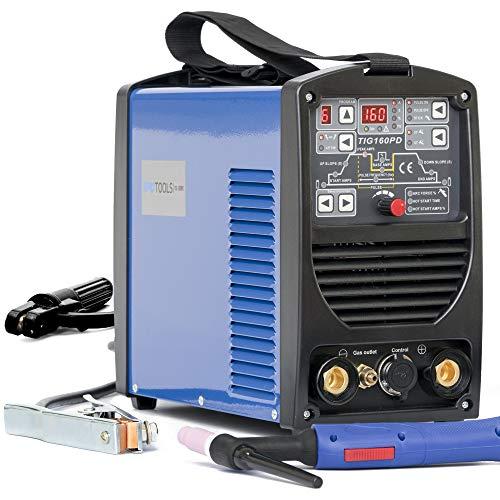 IPOTOOLS 160PD WIG Schweißgerät - TIG WIG Schweissgerät 160 Amper Volldigitales Inverter Schweißgerät mit HF-Zündung, Pulsfunktion, MMA, IGBT, 32-bit Mikroprozessor