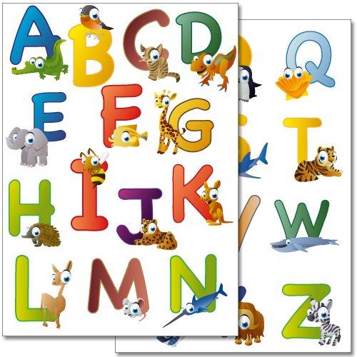 Wandkings Animal ABC, Englisches Alphabet Wandsticker Set, 26 Aufkleber, 2 DIN A4 Bögen, Gesamtfläche 60 x 20 cm