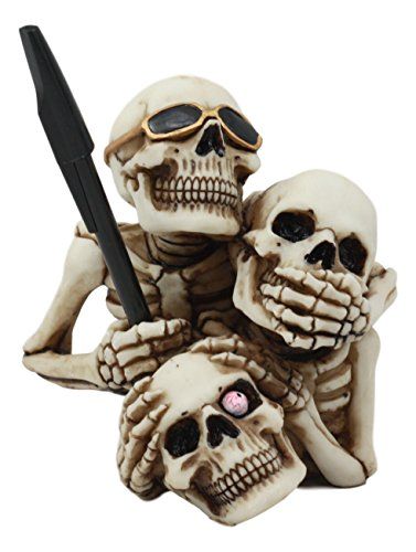 Ebros See Hear Speak No Evil Stacked Up Comical Skeletons Pen Holder Statue Day Of The Dead Skull Figurine Three Wise Skeletons