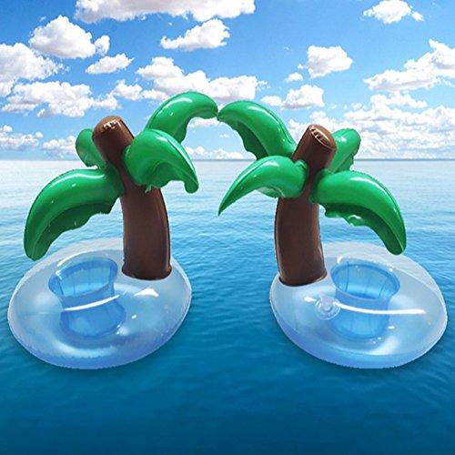 2 pcs gonflable Coconut Tasse titulaire gonflable eau coaster, flottant boisson Tasse titulaires PVC Palm Cola Tasse titulaires, Tasse-Plage, natation Tasse gonflable Jouets