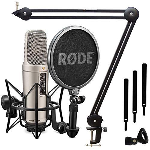 Rode NT2-A Kondensator-Mikrofon Set + keepdrum MS138 Mikrofonarm Tisch-Stativ