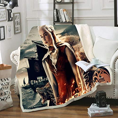 HGKY Decke und Plaids Game of Thrones Bedruckt, Reisedecke, tragbar, aus Flanell, Sherpa, für Sofa, Camping, Reise,für Büro Bett Schlafzimmer (F,150X200CM)