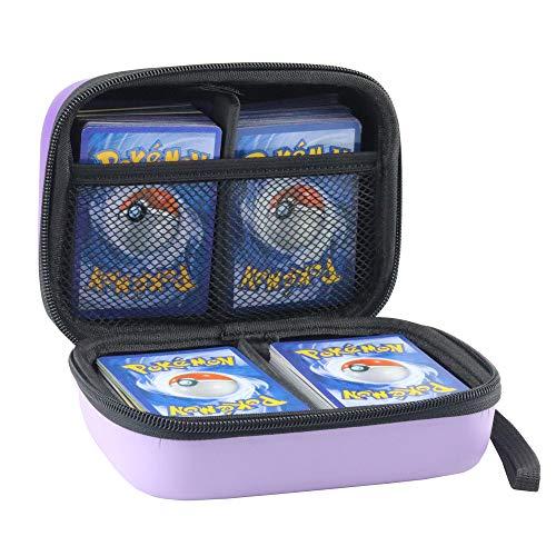 Annle Estuche portátil para Tarjetas de Comercio Pokemon, admite hasta 400 Tarjetas de Comercio Pokemon, Estuche rígido de EVA Duradero con Correa de Mano (Purple)