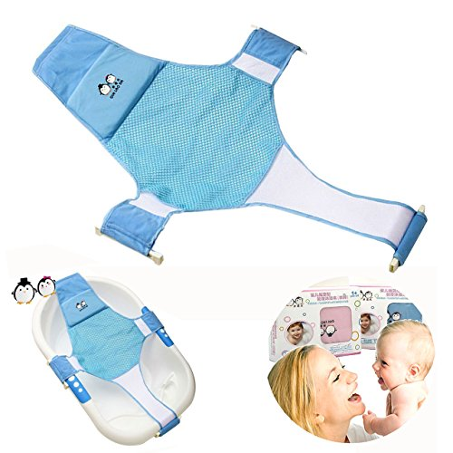 Asiento de baño para bebés recién nacidos Net Bañera Sling Malla de ducha Cuna Asiento de apoyo para bañera (azul) ⭐