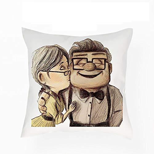 Giftme Carl and Ellie up Cushion for Bedroom/Sofa Car Chair Decor, Cotton/Linen Cushion, Throw Pillow Cushion (Satin Cover With Insert)
