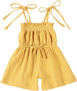 MODNTOGA Baby Girl Summer Clothes Solid Color Jumpsuit Ruffle Strap Romper Sleeveless Bodysuit Outfit