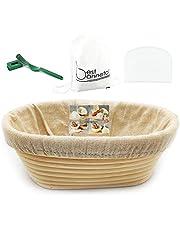 """Proofing Basket11""""Oval hecho a mano Banneton Brotform para pan y hornear Entusiasta masa tazón de ratán ascendente (1200 g de masa), color blanco, rascador de arco verde"""