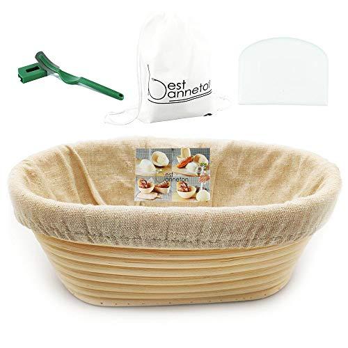 Cestino di lievitazione Banneton ovale, fatto a mano, per il pane e gli appassionati di cottura, ciotola in rattan per 1200 g di impasto, fodera bianca con raschietto e lama verde, 28 cm
