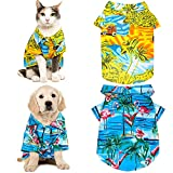 2 Pieces Hawaiian Dog Shirts Pet Summer T-Shirts Coconut Tree Flamingo Print Dog Clothes Pet Camp Shirts Dog Beach Apparels for Small to Medium Dogs and Cats (M Size)