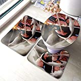 YHKC Hogar Jardín Hogar Cocina Categorías Baño Alfombrillas de baño Anime Bleach Bathroom Mat 3-Piece Set, Bathroom U-Shaped Contour Mat/Floor Mat/Toilet Cover Bathroom Carpet Cover, Soft Non Ant