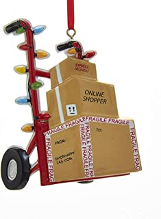 Online Shopper Delivery Boxes on Hand Truck Ornament
