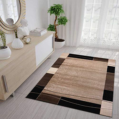 VIMODA Teppich mit Karierter Umrandung in Braun, Maße:80x150 cm