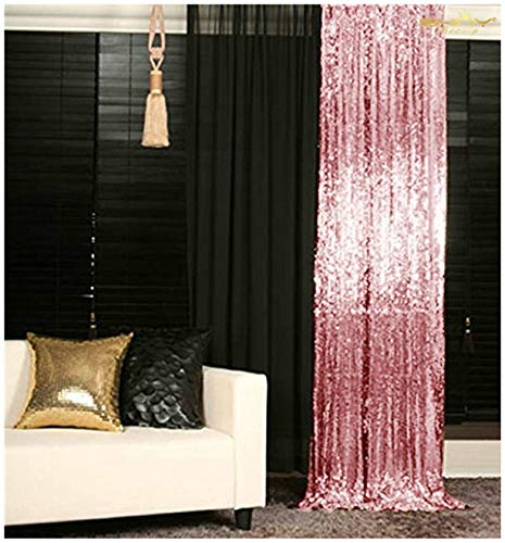 ShinyBeauty Sparkle Backdrop Curtain Fuchsia Pink 2 Panels Set Sequin Photo Backdrop 2FTx8FT Sequin Backdrop Curtain Pack of 2