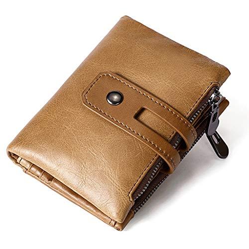 Cartera para hombre Western Bifold -RFID Bloqueador de tarjeta de bloqueo Minimalista Bifold Wallet- Bolsillo delantero de cuero Pequeña cartera para hombre con ventana de identificación Regalos para