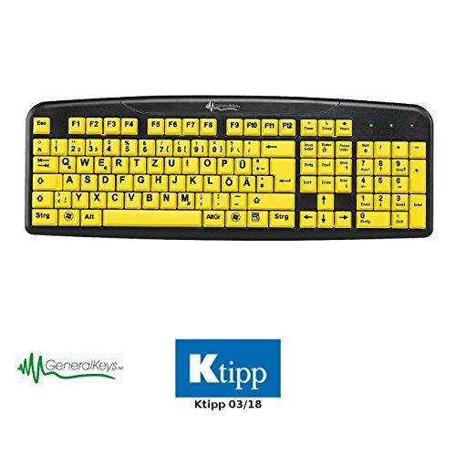 GeneralKeys Tastatur Große Tasten: Komfort-Tastatur mit kontraststarken Großschrift-Tasten (Seniorentastatur)