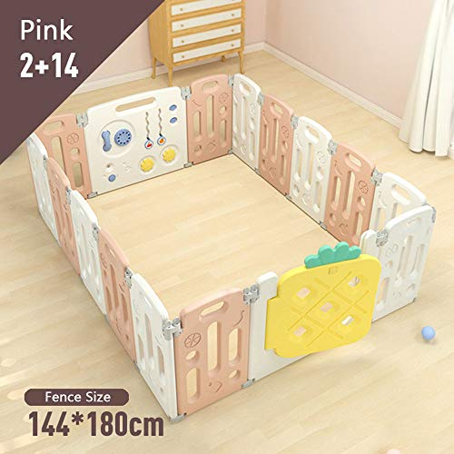 Opvouwbare kinderbox, sterk en duurzaam kunststof hek met activiteitenpaneel, veiligheidsbarrière voor baby's en peuters,Portable Play Center binnenshuis