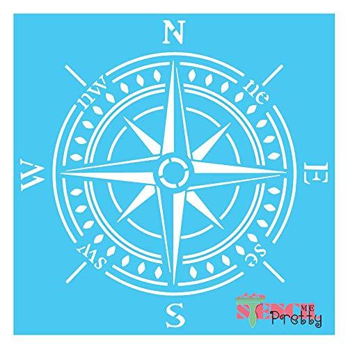 "Stencil - Vintage Compass Best Vinyl Large Stencils for Painting on Wood, Canvas, Wall, etc.-L (16"" x 16"")  Brilliant Blue Color Material"