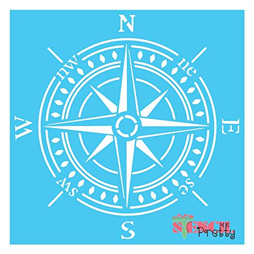 "Stencil - Vintage Compass Best Vinyl Large Stencils for Painting on Wood, Canvas, Wall, etc.-L (16"" x 16"")