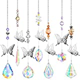 7 Pieces Butterfly Crystals Suncatcher Hanging Suncatchers Beads Colorful Crystal Chandelier Pendant Wall Hanging Tree Window Prism Ornament for Garden Window Car Wedding Plants (Charming Colors)