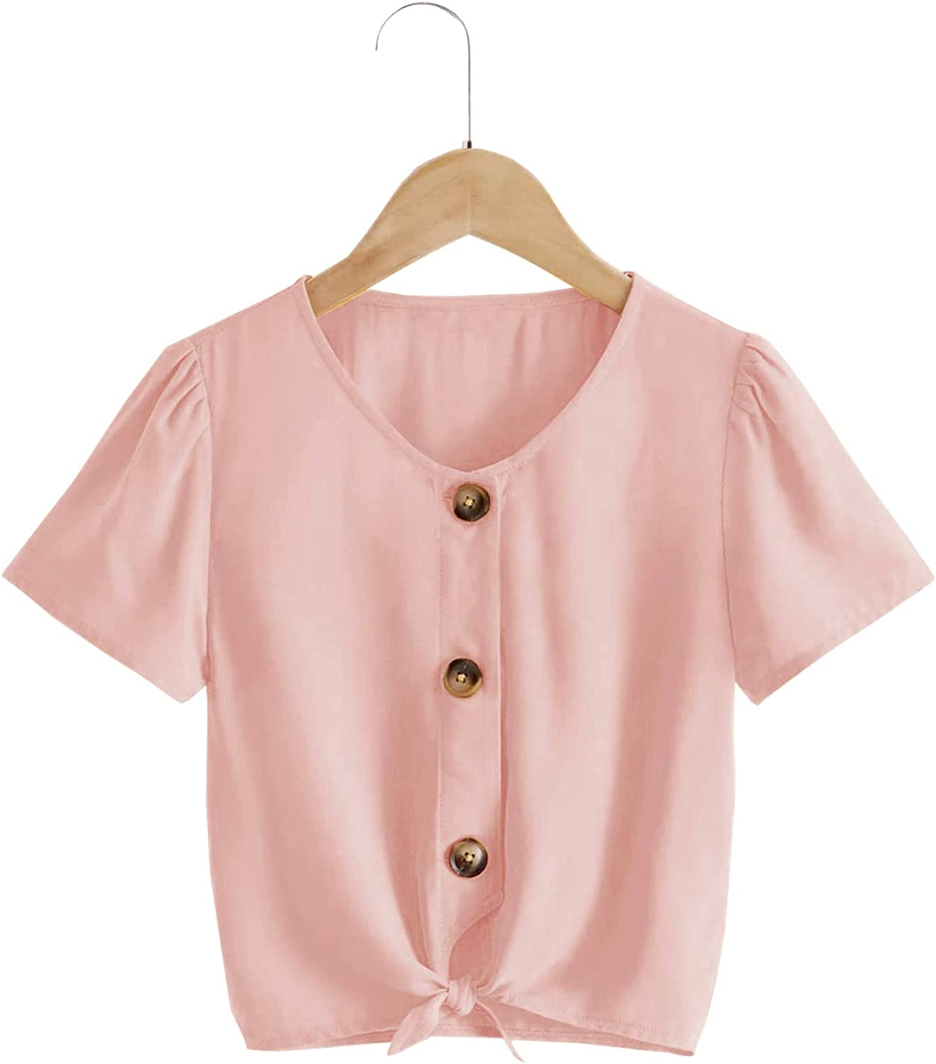 YOBECHO Girl Kids Summer Tie Front Knot Short Sleeve Shirts Button Up Cute Tunic Tops Blouse