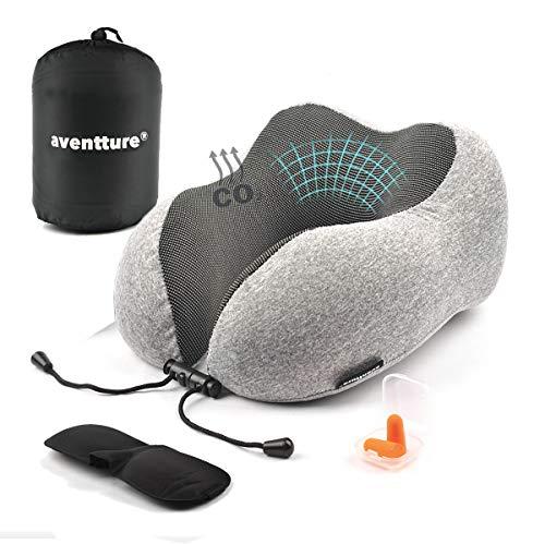 AVENTTURE® nekkussen, visco-elastisch, ergonomisch. vliegtuig, trein, auto en bus | Memory Foam voor nek, zacht en ademend | Kit kussen + oordopjes + masker