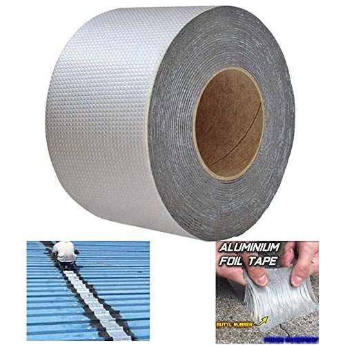 Super Waterproof Tape Butyl Rubber Aluminium Foil Tape,Waterproof Duct Tape Super Repair Crack Thicken Butyl Waterproof Tape Home Renovation Tools (10cm*10M)