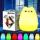 CHwares Portable LED Enfants Veilleuse Enfants Multicolor Lampe de Chat en Silicone, Blanc Chaud et 7 Couleurs Respiration, Robinet Sensibles de contrôle USB Rechargeable d'éclairage