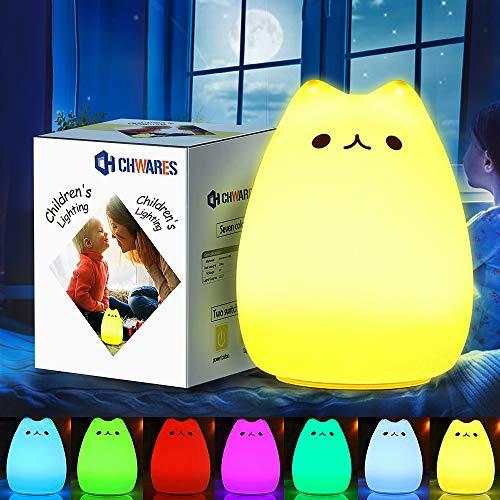 CHwares Lámpara portátil LED del Gato Niños luz de la Noche de los niños Silicona, Blanco cálido y 7 Colores de respiración, Tap Control Sensible, iluminación Recargable USB