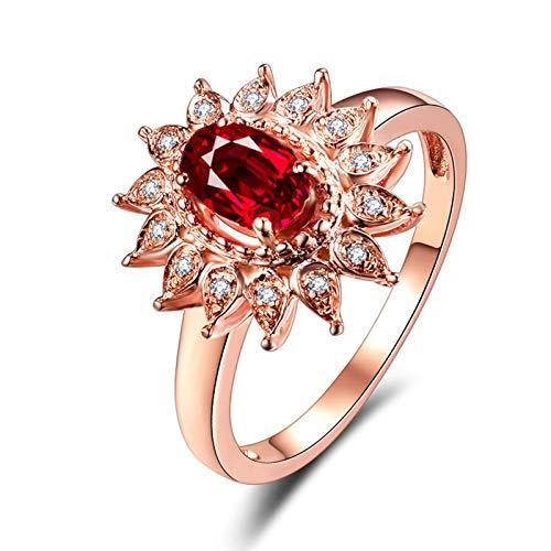 KnSam Joyas-Amor Eterno &Anillo Boda Ajustable Anillo de Diamante 0.5CT de 18K de Oro Anillo de Oro Rosa de la Talla de 20
