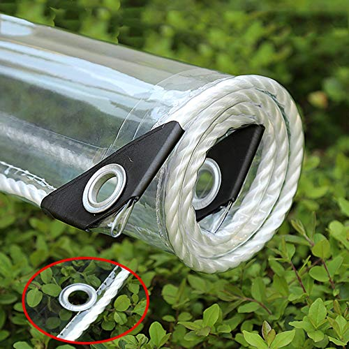 Lona Plegable Transparente de PVC,0,35mm Lona Impermeable con Borde Envolvente,Película de Cortina Suave for Ventana,Para Jardín,Invernadero,con Agujero,Personalizable(0.9x1.5m/2.9x4.9ft)