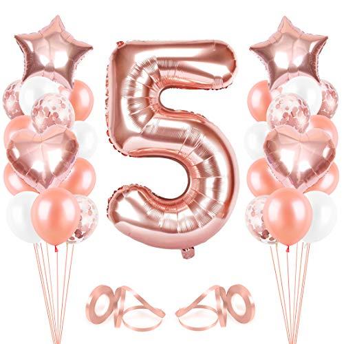 Bluelves Luftballon 5. Geburtstag Rosegold, Geburtstagsdeko Mädchen 5 Jahr, Happy Birthday Folienballon, Deko 5 Geburtstag Mädchen, Riesen Folienballon Zahl 5, Ballon 5 Deko zum Geburtstag