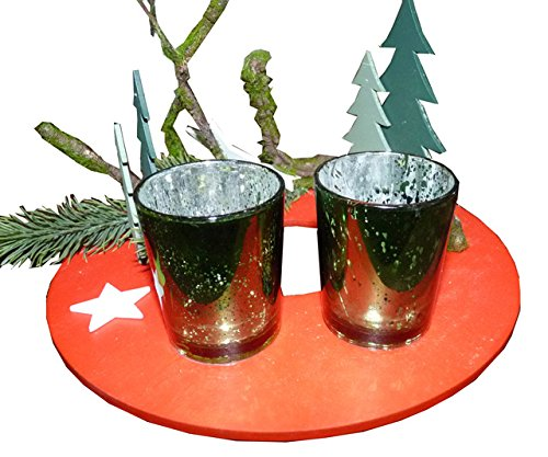 Art.PT105 CentroTavola Natalizio Rotondo 'Glass Tea Light'