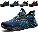 SUADEX Zapatos de Trabajo Hombre de Seguridad Ligeras Mujer Zapatillas de Seguridad Punta de Acero Calzado de Seguridad Deportivo Azul 44EU