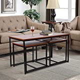 Living Room Table Set - amzdeal 3-Piece Table Set Includes Coffee Table and 2 End Tables, Coffee Table Set Occasional Set for Home Office, Walnut