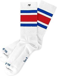 Allstars Lo - Calcetines de media altura retro con rayas blancas y azules y rojas a rayas hasta el tobillo unisex