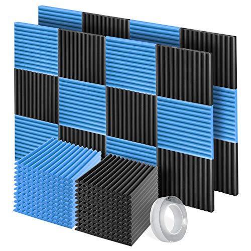 Pannelli Fonoassorbenti, 24 Pezzi SLequipo Pannelli Fonoisolanti 30 X 30 X 2,5 cm con Adesivo per Insonorizzazione Stanza Correzione Acustica (Nero e Blu)