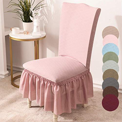 YMOMG Stuhlhussen Aus Stretch Elastan, Plüsch, Kurz, Einfarbig, für Große Esszimmerstühle, Stuhlschutz, Heimdekoration (Rosa,6pcs)