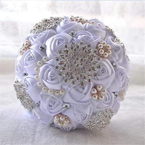 weichuang Ramo de boda con cuentas de cristal broche Bouquet de mariage Ramos de novia de flores de perlas ramo de la boda (Color show)