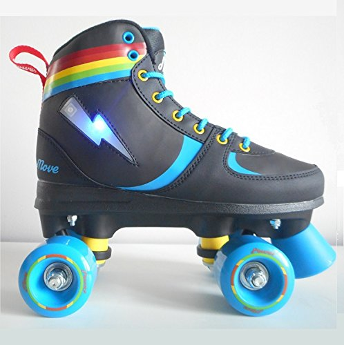 SPACE-SHOP Pattini a Rotelle da Strada Stivaletto Quad Rainbow Fantasia Nero con Led-35/36