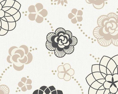 Innova 1433-10 Tapete, florales Muster, weiß braun schwarz