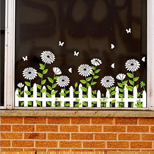 SUNER-EUR Dubbelzijdig patroon glas sticker bloem hek plinten stickers winkel venster muur sticker