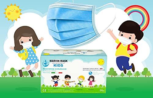 Health care Infantiles-Made in Italy -50 Mascarillas médico-quirúrgicas para niños - Desechables 3 capas - Certificado CE...