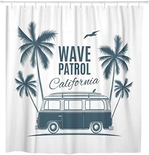None brand Bus Vintage Retro Surf Van Palmen Und MöWe Grafik Duschvorhang Wasserdichtes Polyestergewebe Mit Haken-B180xH200cm