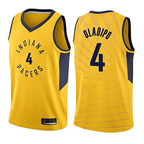 LITBIT Camiseta de baloncesto para hombre, diseño de la NBA Pacers 4# Oladipo 2021, transpirable, secado rápido, resistente al desgaste, sin mangas, para deportes, amarillo, XXL