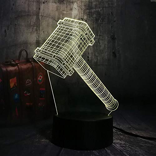 LNHYX Novelty Cool Big Thor Hammer 3D 7 Color Change Night Light Table Multicolor Remote Desk Lamp Kids Birthday Christmas Gift