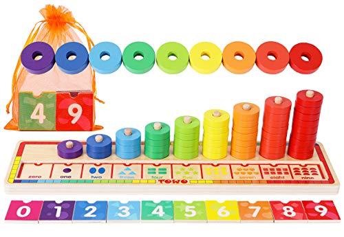 TOWO Anelli impilabili in Legno - Set di 45 Anelli e Blocchi di Numeri per Imparare la Matematica Contare e Imparare i Colori - Giocattolo Educativo Montessori Per Bambini di 3 anni
