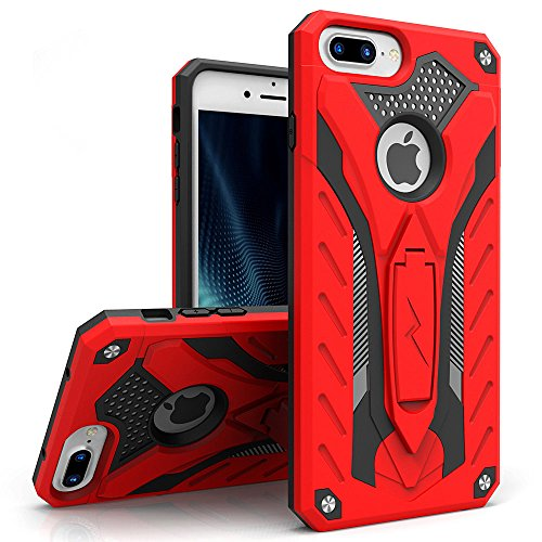 ZIZO Static Series for iPhone 8 Plus Case Military Grade Drop Tested with Kickstand iPhone 7 Plus iPhone 6s Plus Case Red Black